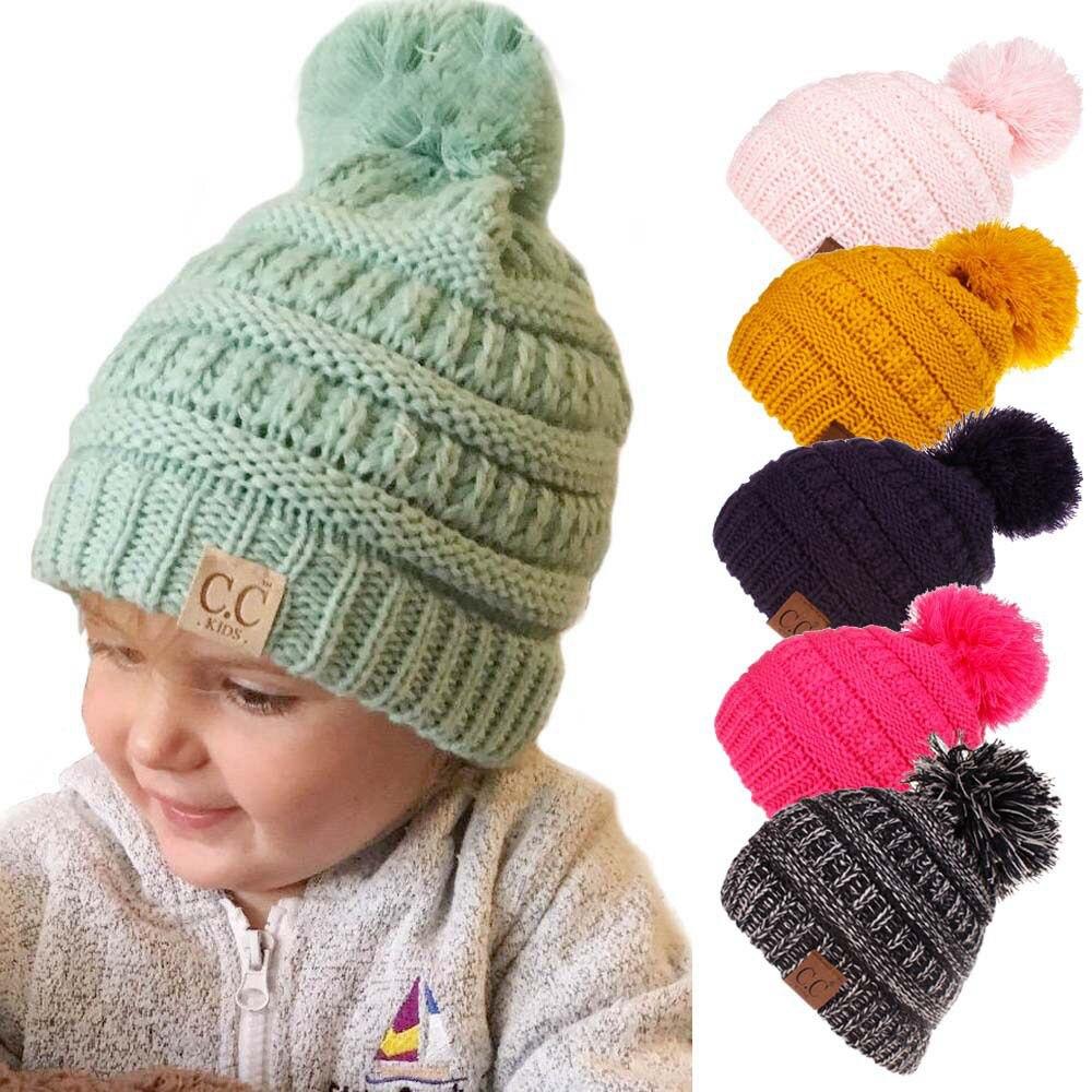 Kids Winter Hat Baby Pompom Hats Candy Soft Child Knitting Crochet Keep Warm Children Cap Unisex   Skullies     Beanies   H095D