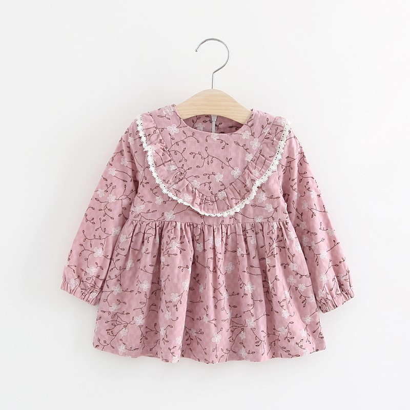 Kids  winter clothes baby Girls cotton cute Printed Long Sleeve Floral Dresses Children Clothing party Princess brand Dress 1-3 baby girls printed long sleeves dress girls party princess dress baby kids girls cute loose dress girls clothing 3 7ys