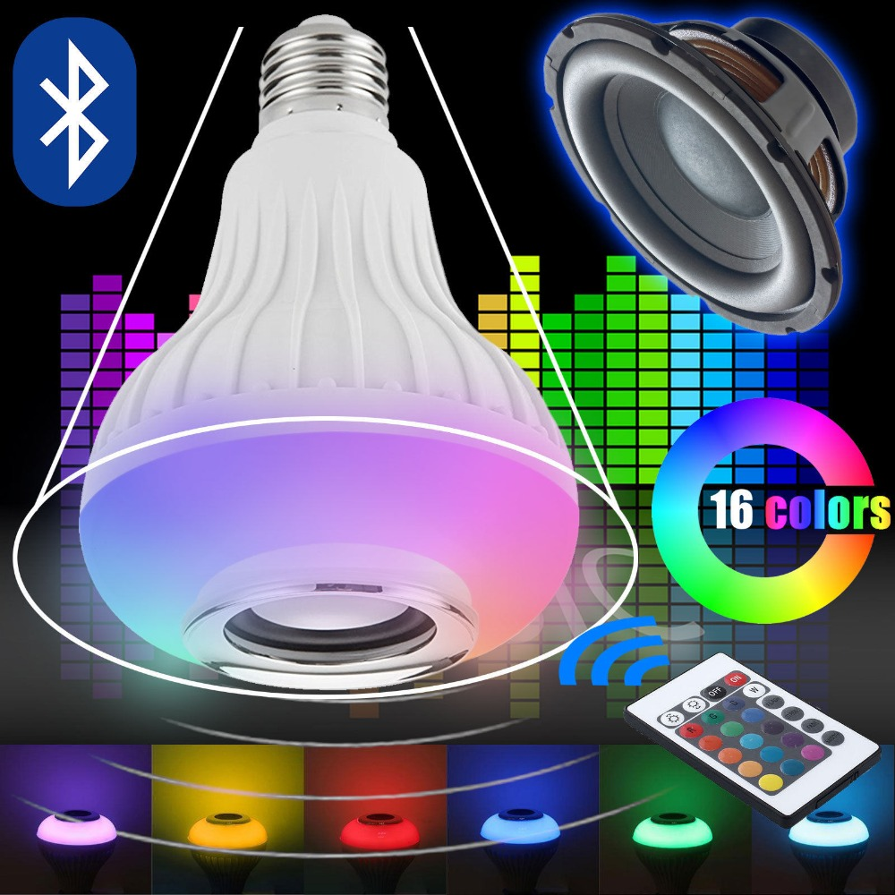 Wireless Bluetooth Speaker +12W RGB Bulb E27 LED Lamp 100-240V 110V 220V Smart Led Light Music Player Audio with Remote Control novelty lights 8 colors changeable e27 wireless bluetooth speaker rgb color smart led light bulb with remote control lamp light