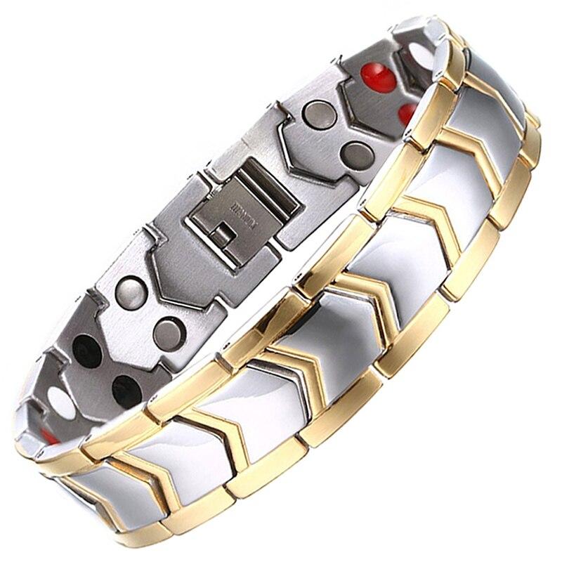Tropfen-Verschiffen Gesunde Edelstahl Magnetische Therapie Bio Armband Männer Schmuck Neue Mode Energie Magnet Armbänder & Armreifen