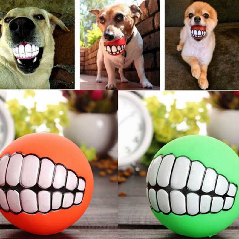 """Мяч для комнатной собаки Силиконовые Зубы формы мяч для игры с жеванием визгливый звук забавные Домашние животные Собака Щенок мяч игрушка """"зубы"""""""
