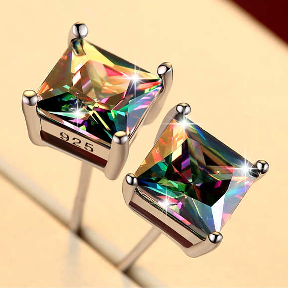 Cute Female Small Rainbow Earrings Crystal Stone Fashion Silver Wedding Earrings Colorful Double Stud Earrings For Women