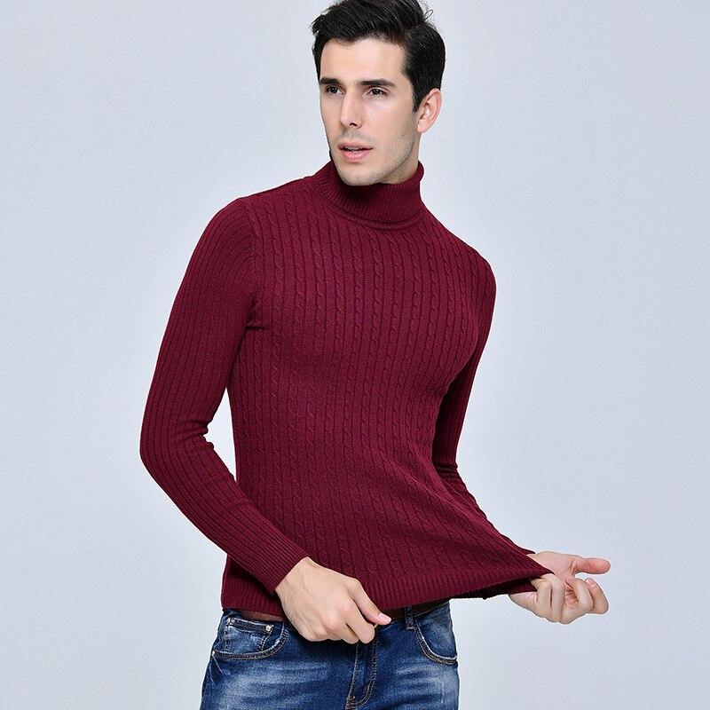 100% QualitäT Nisexper Neue Ankunft Mens Hohe Elastizität Pullover Männer Rollkragen Slim Fit Winter Pullover Mann Einfarbig Gestrickte Pullover