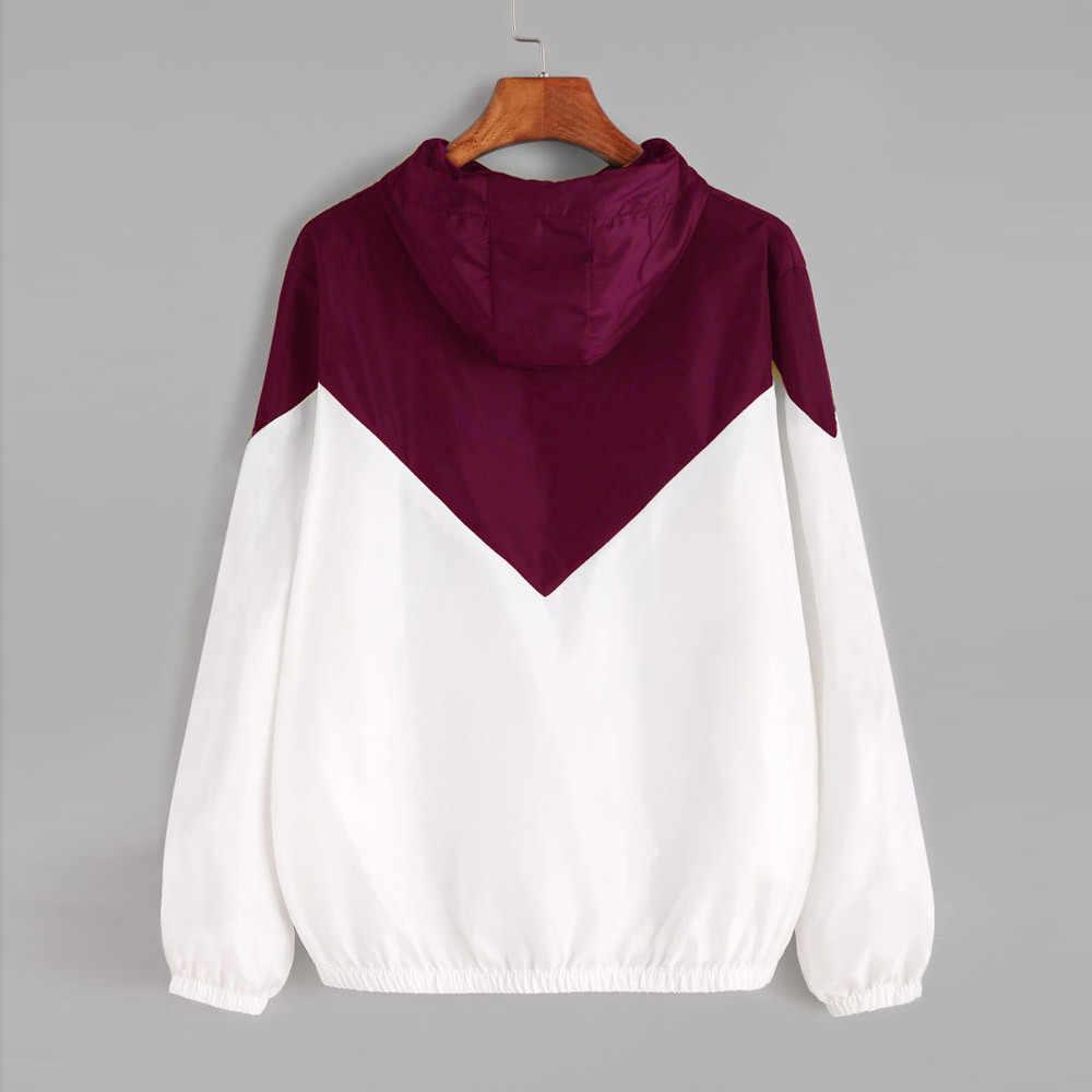 Frauen Grundlegende Zip Jacken frauen Zipper Casual Taschen Lange Ärmel Mit Kapuze Herbst Jacken Jacke Windjacke Zwei Ton Jacke
