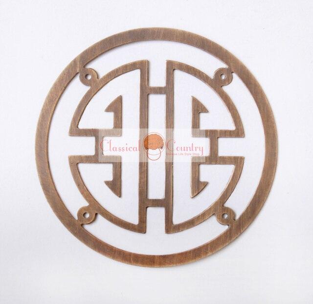 7cm Chinese Brass Longevity Symbols Ideograms Furniture Hardware