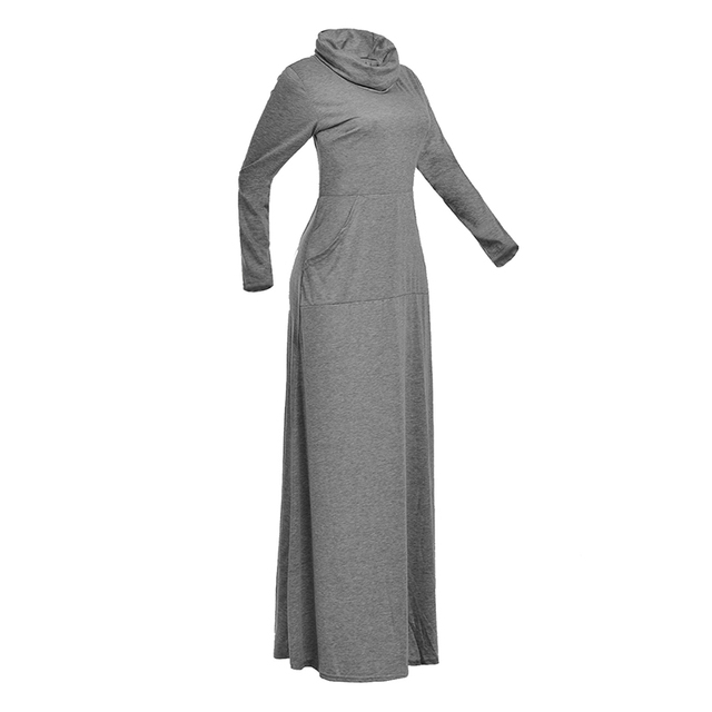 Women Warm Dress With Pocket Casual Solid Long Sleeve Vintage Maxi Dress Robe Bow Neck Long Elegant Dress Vestidos Female Body 4