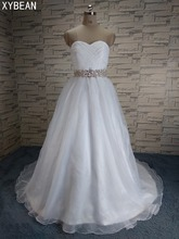 Cheap Price ! 2017 New Free Shipping Beading Sashes A line With Train White / Ivory Wedding Dresses