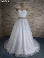 Cheap Price 2017 New Free Shipping Beading Sashes A Line With Train White Ivory Wedding Dresses