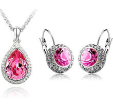 Luxury gifts Austrian crystals water drop pendant necklace and earring set fashion jewelry – Tears of love