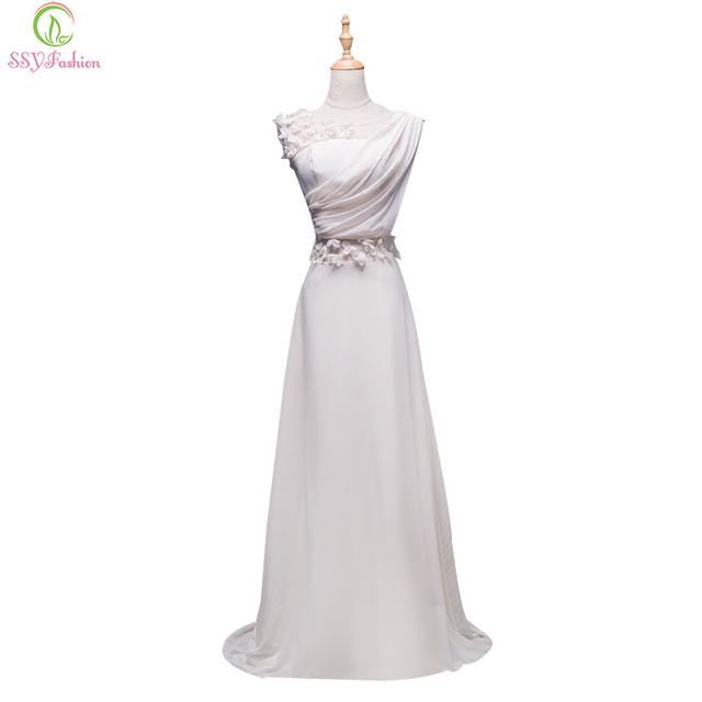 SSYFashion Long Evening Dresses Princess Banquet Lace Chiffon Prom ...