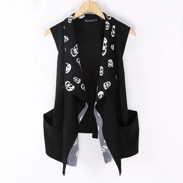 Fashion Korean Men`s Punk Style Vest Black Slim Fit Skull Leopard Printed Cardigan Sleeveless Shirts For Men