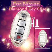 цена на Luxury Diamond key shell car key pack cover/auto key case keychain Accessories for Nissan QASHQAI/TEANA /TIIDA/Infiniti/SYLPHY