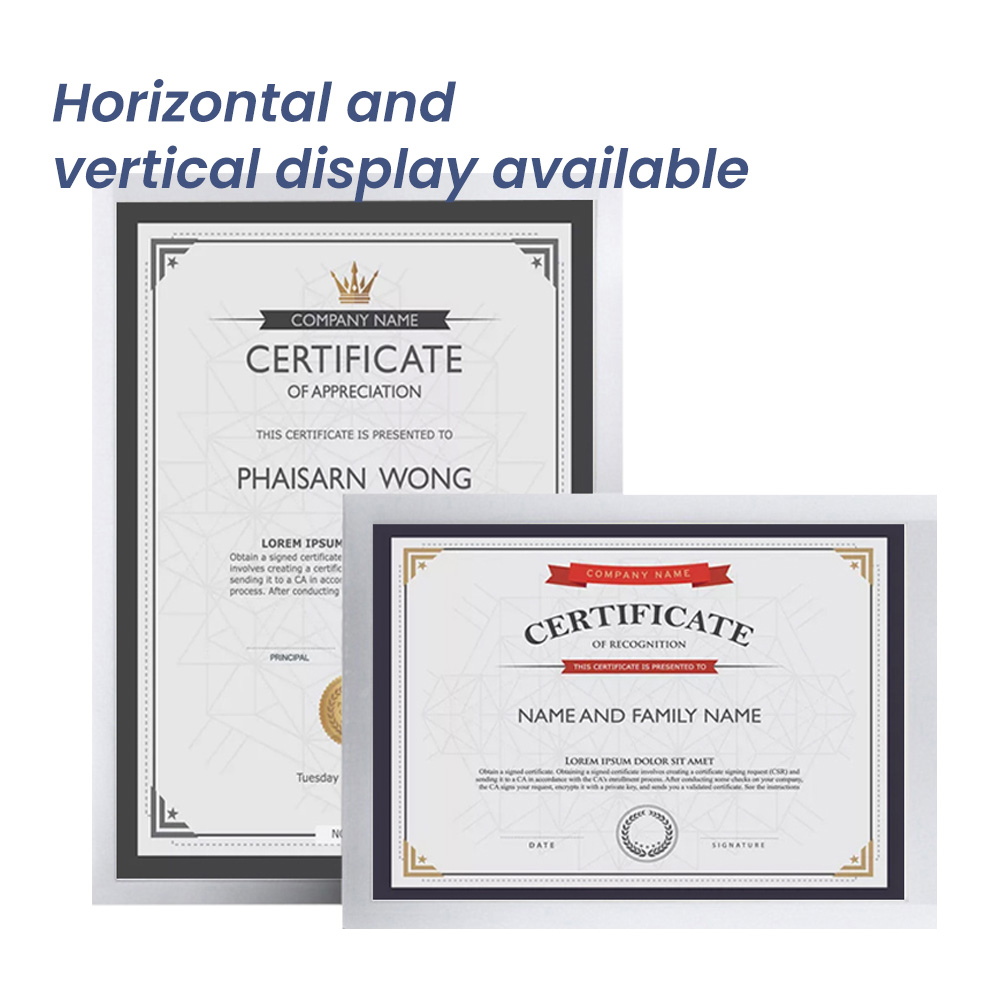A3 Silver Certificate Frame PVC Picture Poster Photo Frame Wall Mount Document Office Annouce Display