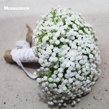 2019 Real Photos Artificial White Little Flower Wedding Bouquet Beautiful Wedding Accessories Bouquet Mariage
