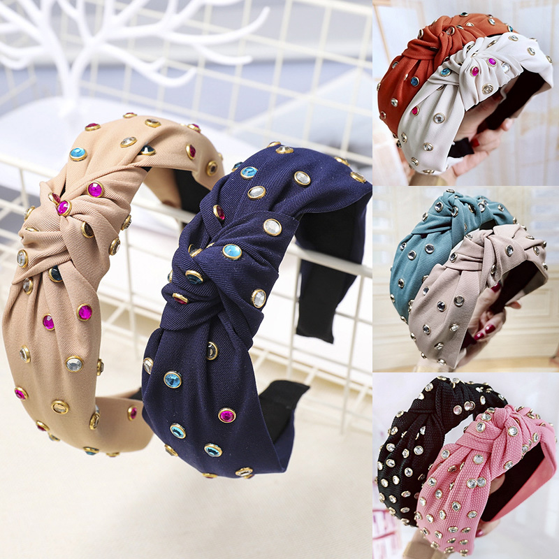 1PC Handmade Korean Knot Headband Coloured 25 Colors Cross Soft Comfortable Bohemian Colors Wide Crystal   Headwear
