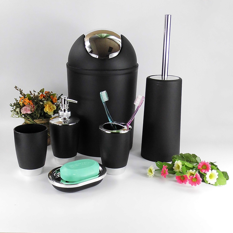Blacku0026White Six Piece Bathroom Accessory Set Lotion Dispenser,Toothbrush  Holder,Tumbler Cup,Soap Dish, Trash Can,Toilet Brush In Bathroom  Accessories Sets ...