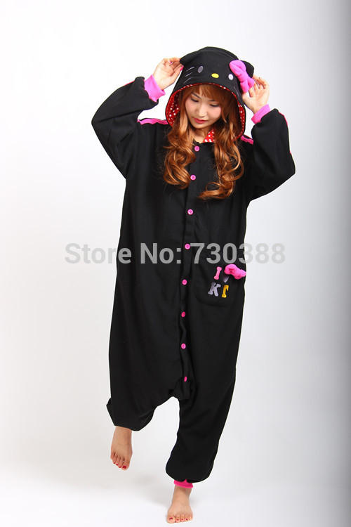c345a1e130af Japanese Anime New Hello Kitty Kitty Cat Black Cosplay Onesie Pajamas for Adults  Women Men Unisex Christmas Halloween Cosutmes on Aliexpress.com