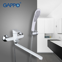 Gappo White Bath Shower System Faucet Set Brass Surface Spray Painting Bathroom Tap Shower Head Bathtub