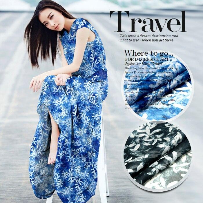 140 cm de large 8mm blanc imprimé floral mince en mousseline de soie tissu pour robe longue et courte chemise vêtements 2 couleurs disponibles D211