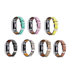 Substituição Para Fitbit Carga 2 Bandas Intercambiáveis Inteligentes de Tiras De Couro Faixa de Relógio Com Moldura de Aço Inoxidável para a Carga de Fitness 2