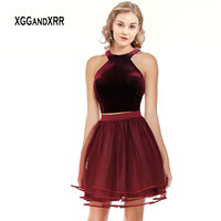 Two Piece Short Homecoming Dress Velvet Halter Top Cut Out Back Layered Tulle Skirt Burgundy Prom Dress 2019 Graduation Gown