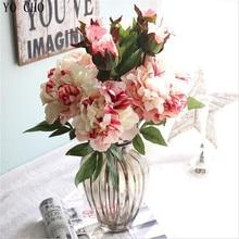 YO CHO real touch birthday party Christmas decor artificial silk peony flower 2 head rose wedding part decoration leaf flower