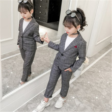 Teenage Girls Baby Girls Clothing Set Fashion Plaid Jackets +Pants Tracksuit School Uniform Girls Cl