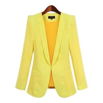2017 Damen Gelben Blazer Feminino Plus Größe 4xl Formale Jacke Frauen Weiß Blaser Rosa Weiblichen Blauen Frauen Anzug Büro Damen Buy One Give One