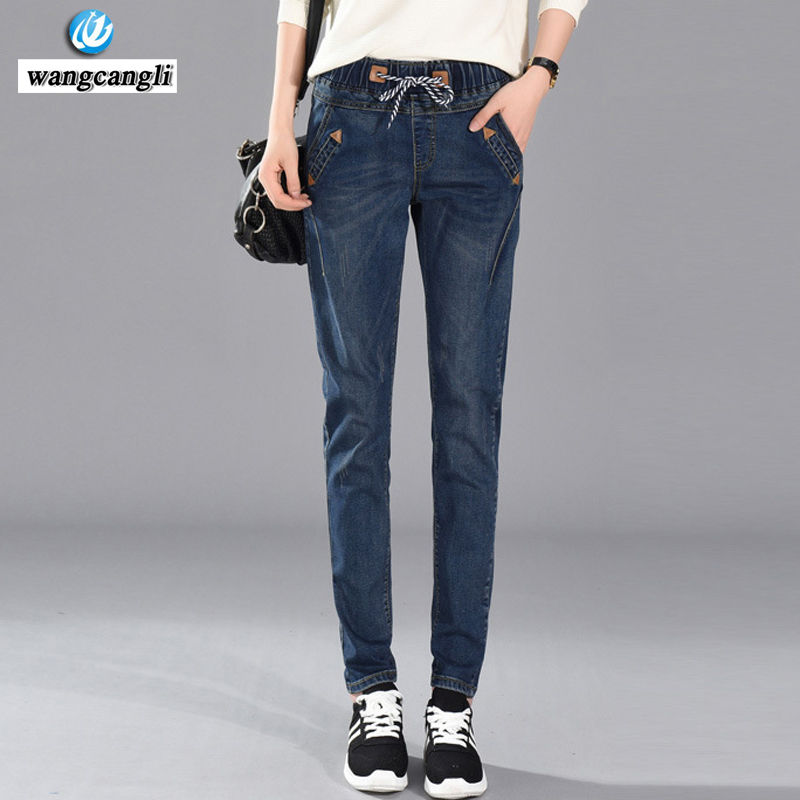 wangcangli Large size jeans female loose 2016 loose new holes in the summer code-size denim shorts fat MM Korean Slim breeches