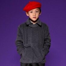Winter coats fashion outerwear for boys dark gray regular outerwear children turn down collar zipper coats