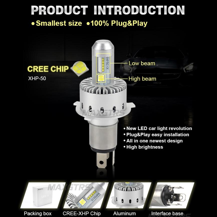 2x CREE CHIP XHP50 bilstrålkastare H4 H7 LED H8 / H11 HB3 / 9005 HB4 - Bilbelysning - Foto 6