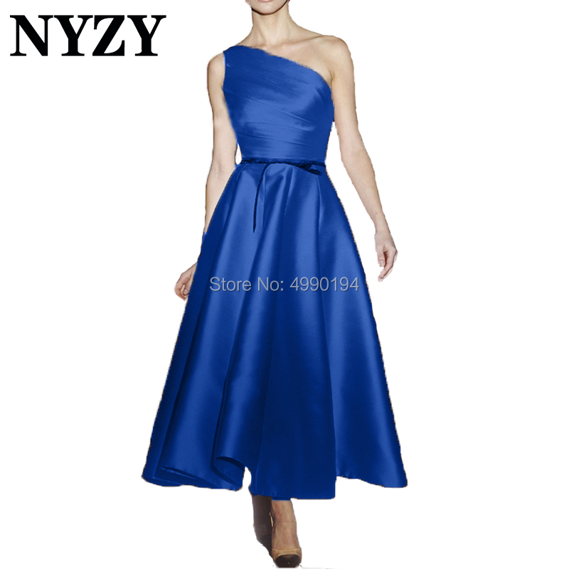 Elegant Vestido Festa Robe   Cocktail     Dresses   NYZY C187 Satin One Shoulder Blue Party Gown Formal   Dress   Homecoming Graduation