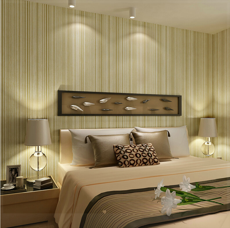 The exquisite elegant pure non woven gold vertical stripe wallpaper  wallpaper bedroom background wall wallpaper 3d wall panels m in Wallpapers  from Home. The exquisite elegant pure non woven gold vertical stripe