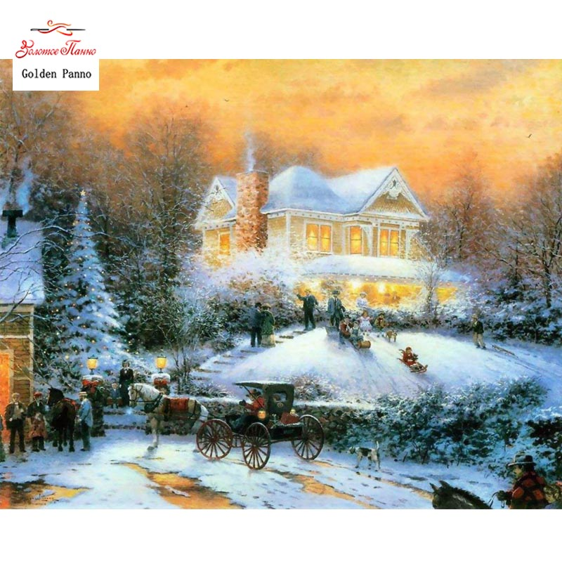 Doré Panno bricolage DMC 14CT 11CT DMC fait à la main point de croix kits couture broderie mur décoration neige maison 810