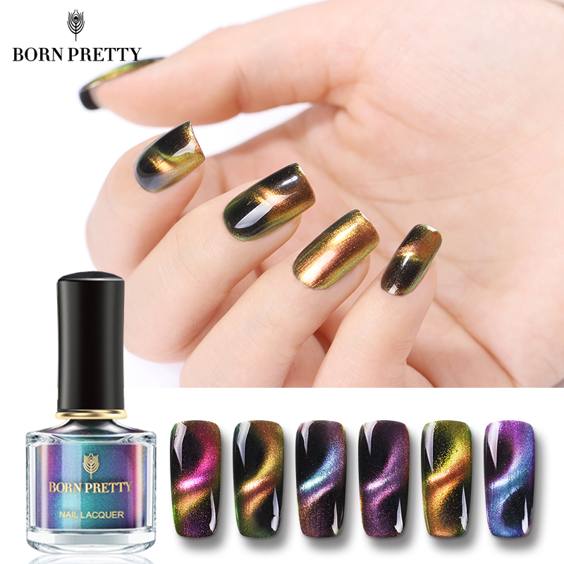 купить BORN PRETTY Chameleon 3D Cat Eye Nail Polish Magnetic Aurora Series 6ml Varnish Magnet Nail Art Lacquer Black Base Needed по цене 129.88 рублей
