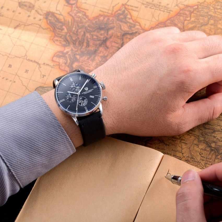 パガーニデザインオリジナルブランド男性スポーツミリタリークォーツ時計ファッションビジネスクロノグラフ革腕時計レロジオ Masculino