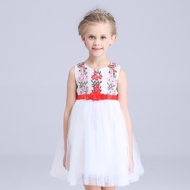 White flower girl dresses with embroidery lace costume red girdle white flower girl dresses with embroidery lace costume red girdle teenage girls clothing wedding kids girls mightylinksfo