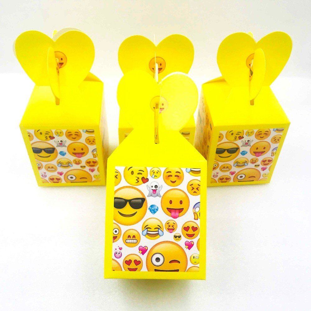 6pcs Emoji Girl Birthday Party Decorations Ideas Favors Candy Boxes