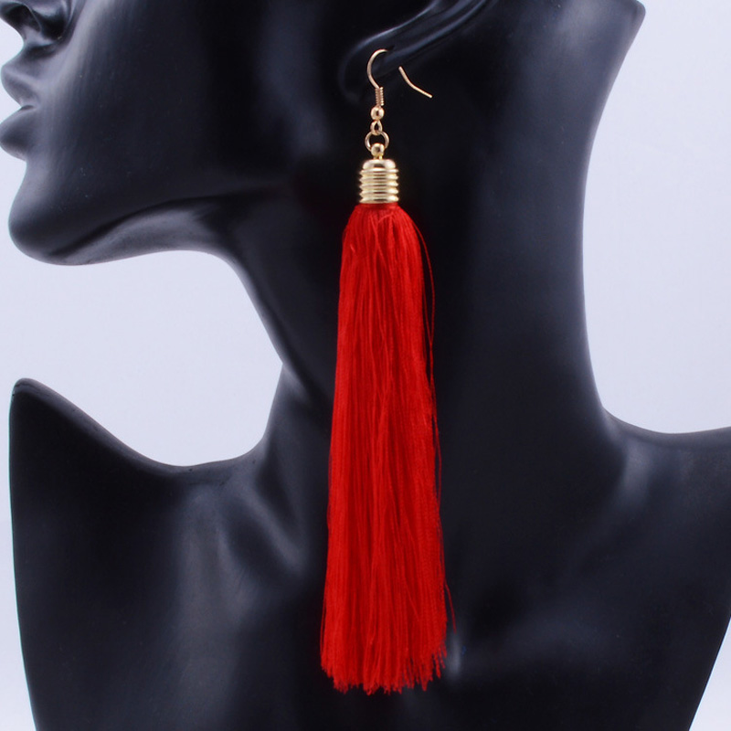Fashion Fringing jewelry Female Red Tassel Drop Earrings Gold Color Cotton Fringes Long Ethnic Dangle Earrings For Women Brinco