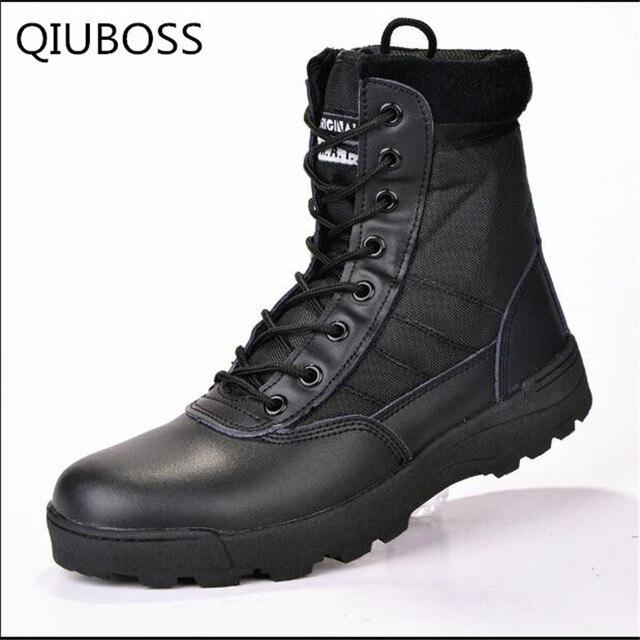 QIUBOSS Kış askeri deri çizmeler erkekler için Savaş bot Piyade taktik çizmeler askeri bot ordu ordu ayakkabı erkek ayakkabi Q718