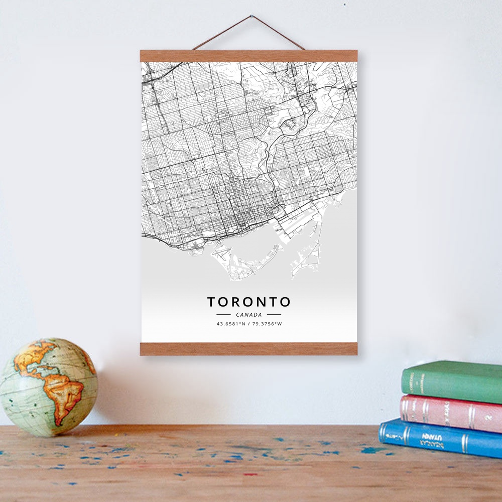 Toronto Canada City Map Wooden Framed Canvas Painting Home