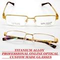 Custom made Reading glasses TITANIUM ALLOY SEMI-RIM GOLD men's glasses frame Business Luxury glasses With myopia and presbyopia