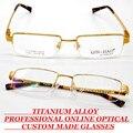 Por encargo gafas de lectura de titanio aleación SEMI-RIM oro hombres de marco de los vidrios de lujo de negocios gafas con la miopía y la presbicia