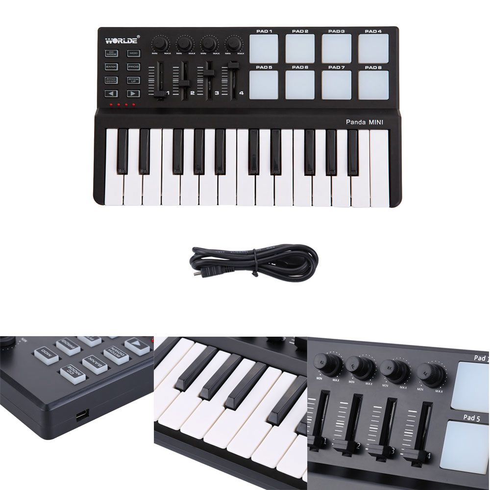 HLBY WORLDE Panda MIDI Keyboard 25 Keys Mini Piano USB Keyboard and Drum Pad MIDI Controller