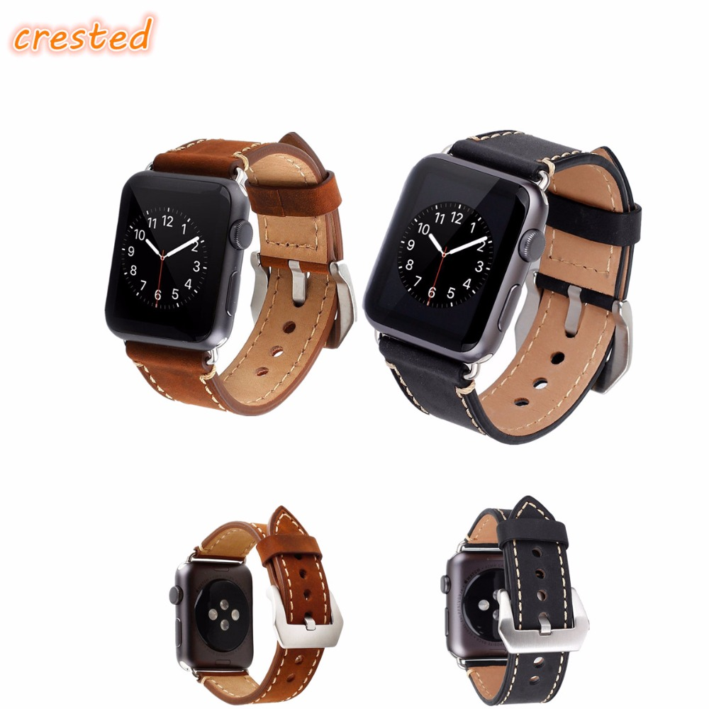 купить CRESTED Genuine Leather band for apple watch 42mm/38 bracelet strap for iwatch 1/2/3 metal buckle belt leather watch band по цене 932.56 рублей