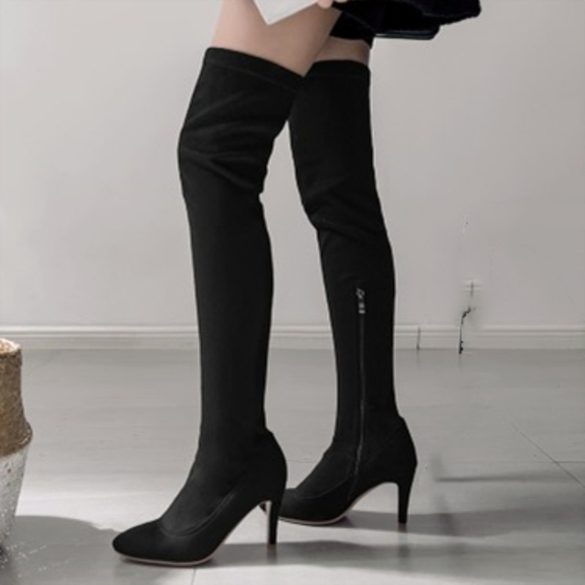 38d79e6f51a ZOGEER Plus size 46 Stretch Fabric Women Over The Knee Boots High Heels  Soft Flock Thigh