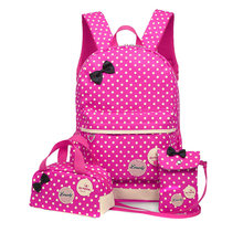 3 Pcs/Set Fashion Teenager Bowknot Dots Printed School Shoulder Bags Girl Casual Backpack Student Composite Bag Backpack Popular