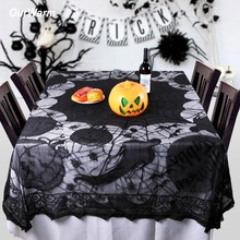 OurWarm 60x80inch Spiderweb Pattern Decorative Table Cloth Halloween Party Supplies Black Lace Tablecloth Dining Cover