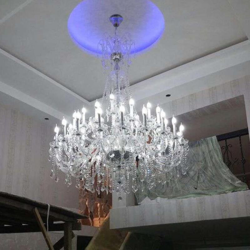Svitz 45 Pcs Led Clear Crystal Light Hanging Chandelier Re For Church Hall Hotel Large Modern Chandeliers Pendientes Luz In From Lights