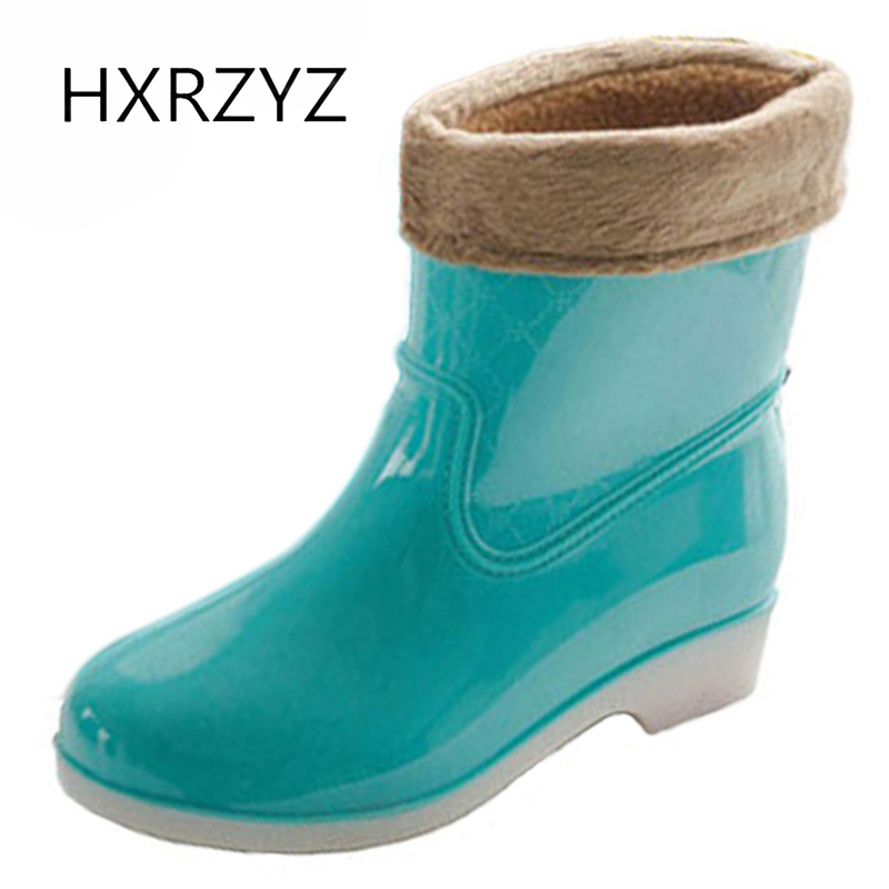HXRZYZ women shoes Spring / summer Woman Fashion Rain Boot Waterproof Non-slip Plus cotton Rubber Boots And ankle rain shoes 2016 spring and summer free shipping red new fashion design shoes african women print rt 3